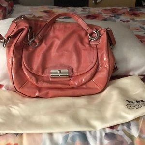 Classic Pink Patent Leather Coach Bag